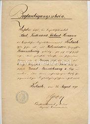 Deutsches Reich - Dienstauszeichnung 3. Klasse für 9 jährige Dienstzeit - Beglaubigungsschein