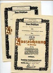 III. Reich - Deutscher Schützenverband - Urkundenpaar zur kleinen und großen Schießauszeichnung in Bronze