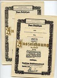 III. Reich - Deutscher Schützenverband - Urkundenpaar zur kleinen und großen Schießauszeichnung in Gold