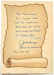 Heer - Nachkriegsunterschrift von Ritterkreuzträger General der Artillerie Curt Gallenkamp