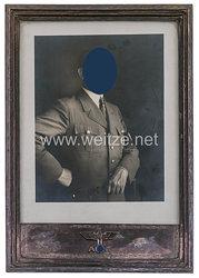 Adolf Hitler großer silberner Staatsrahmen mit persönlichem Widmungsfoto