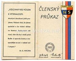III. Reich - Tschecheslowakei - Narodni Sourucenstvi ( NS ) - Mitgliedsausweis für einen Mann des Jahrgangs 1875
