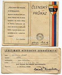 III. Reich - Tschecheslowakei - Narodni Sourucenstvi ( NS ) - Mitgliedsausweis für einen Jungen des Jahrgangs 1913