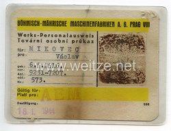 III. Reich - Böhmisch-Mährische Maschinenfabriken A.G. Prag VIII - Werks-Personalausweis