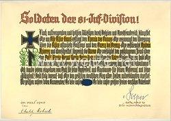 Heer - Schmuckblatt als Anerkennung für die Soldaten der 81. Infanterie-Division von Juli 1940