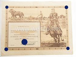 III. Reich - Verdienstplakette des Nationalsozialistischen Reiterkorps ( NSRK ) - Verleihungsurkunde