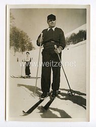 III. Reich Pressefoto. Benito Mussolini beim Skifahren