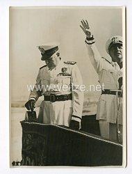 III. Reich Pressefoto. Der Duce bei der Einweihungsfeier des neuen Tiber-Kanal im Tal von Rom. 16.8.1940.