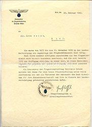 Kriegsmarine - Kommandeur der Flugmeldeabteilung Westliche Ostsee - Dienstzeugnis für ein Fräulein