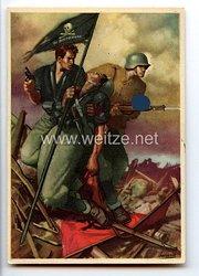 """III. Reich - farbige Propaganda-Postkarte - """" Deutschland - Italien - HJ - La Disperata """""""