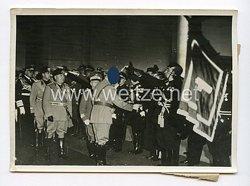III. Reich Pressefoto. Die historische Stunde auf dem neuen Ostia-Bahnhof in Rom. 4.5.1938.