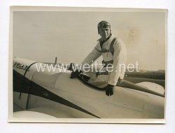 III. Reich Pressefoto. Mit dem Erla-Kleinstflugzeug über drei Erdteile. 31.3.1939.