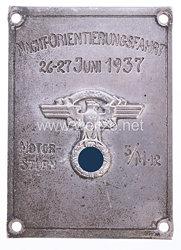 """NSKK - Nichttragbare Teilnehmerplakette """" Motorsturm 3/M12 Nacht-Orientierungsfahrt 26.-27. Juni 1937 """""""