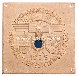 """NSKK - nichttragbare Teilnehmerplakette """" Motorbrigade Nordmark - Nordmark Herbstprüfung 23.10.1938 Hamburg - Lübeck """""""