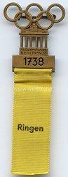 XI. Olympischen Spiele 1936 Berlin - Offizielles Teilnehmerabzeichen für einen Sportler in der Sportdisziplin Ringen