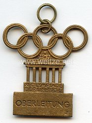 XI. Olympischen Spiele 1936 Berlin - Offizielles Teilnehmerabzeichen eines Angehörigen des Stabes der Oberleitung
