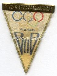 IV. Olympische Winterspiele 1936 Garmisch-Partenkirchen - Eintrittsabzeichen für die Bob-Wettkämpfe 12.2.1936