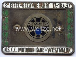 """NSKK - nichttragbare Teilnehmerplakette - """" Motorbrigade Westmark 2. Eifel-Geländefahrt 17.-18.4.1937 """""""