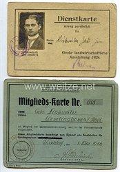 Weimarer Republik - Dienstkarte für die Große landwirtschaftliche Ausstellung 1928