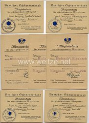 III. Reich - Deutscher Schützenverband - Kleine Gruppe von 7 Mitgliedskarten für nichtschießende Mitglieder