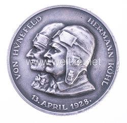 Silberne Erinnerungsmedaille an den Transatlantikflug der Bremen 13. April 1928 - von Hünefeld - Hermann Köhl - Allen Gewalten zum Trotz sich erhalten