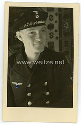Kriegsmarine Portraitfoto, Soldat mit Tellermütze