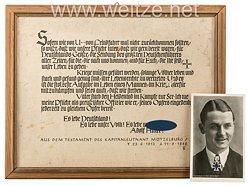 "Kriegsmarine - U-Boot-Kommandant Rolf Mützelburg - "" Erinnerungsblatt aus dem Testament """