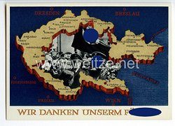 "III. Reich - farbige Propaganda-Postkarte - "" Wir Danken Unserm Führer 4.12.1938 """