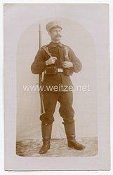 Erster Weltkrieg Fotopostkarte Soldat der Landwehr mit Marschausrüstung