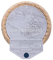 """NSKK - nichttragbare Siegerplakette - """" NSKK Motorgr. Leipzig 2. Querfeldeinfahrt am Bienitz 18.9.1938 - 1. Preis """""""