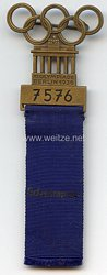 XI. Olympischen Spiele 1936 Berlin - Offizielles Teilnehmerabzeichen für einen Sportler in der Sportdisziplin Schwimmen