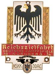 """NSKK / DDAC - nichttragbare Teilnehmerplakette - """" NSKK DDAC Reichszielfahrt Deutsche Kampfspiele Nürnberg 1934 """""""