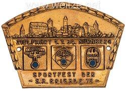 """NSKK/DDAC Nichttragbare Teilnehmerplakette: """"NSKK DDAC Zielfahrt 1.7.34. Nürnberg - Sportfest der S.A. Brigade 78"""""""
