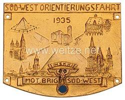"""NSKK Nichttragbare Teilnehmerplakette: """"NSKK Mot. Brig. Süd-West Süd-West Orientierungsfahrt 1935"""""""