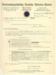 NSDAP Gau Ruhr Sitz Elberfeld - Originalunterschrift des späteren Reichsstatthalters von Hamburg Karl Kaufmann auf einem Brief von 1927