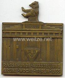 """III. Reich - nichttragbare Teilnehmerplakette """" Rassehund-Ausstellung Grüne-Woche-Berlin 1935 RDH """" ( Reichsverband für das deutsche Hundewesen )"""