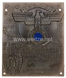 """NSKK nichttragbare Teilnehmerplakette: """"NSKK Nacht-Orientierungsfahrt durch die Kurmark am 9./10. Juli 1938 Motorgruppe Kurmark"""""""