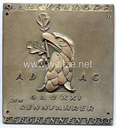 """III. Reich - ADAC ( Allgemeiner Deutscher Automobil-Club ) - nichttragbare Teilnehmerplakette - """" 9. Lueckendorf Bergrennen 1933 - ADAC Gau XXI dem Rennfahrer """""""