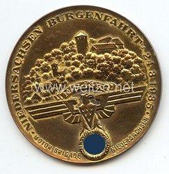 """NSKK - nichttragbare Teilnehmerplakette in Gold - """" Motorbrigade Niedersachsen - Niedersachsen Burgenfahrt 24.3.1935 """""""
