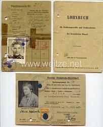 Luftwaffe - kleine Dokumentengruppe für eine Frau als Reichsangestellte