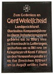 Gedenktafel zum Heldentod vonGerhard Wefelscheid, Landgerichtsrat in Eisenach, am 19.10.1941 an der finnischen Ostfront