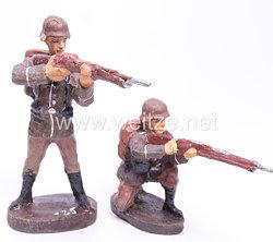 Elastolin - Heer 2 Soldaten stehend und kniend schießend