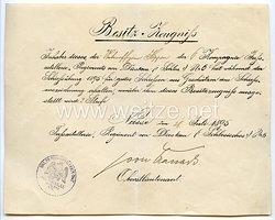 Preußen - Besitzzeugnis für die Schießauszeichnung 1895