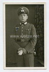 Wehrmacht Heer Foto, Angehöriger der Infanterie mit Schirmmütze