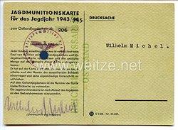 III. Reich / Reichskommissariat Ostland - Jagdmunitionskarte für das Jagdjahr 1943/45