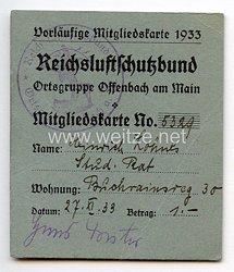 Reichsluftschutzbund Ortsgruppe Offenbach am Main - Vorläufige Mitgliedskarte 1933