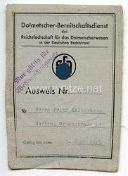 Dolmetscher-Bereitschaftsdienst der Reichsfachschaft für das Dolmetscherwesen in der Deutschen Rechtsfront - Ausweis