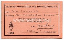 III. Reich - Deutscher Amateursende- und Empfangsdienst e.V. - Mitgliedskarte