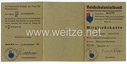 Reichskolonialbund - Gauverband Saarpfalz Ortsverband Kaiserslautern - Mitgliedskarte