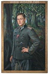 Wehrmacht - großes Ölgemälde des Ritterkreuzträgers der 3./Art.Rgt. 240Hauptmann Max-Eugen Petereit